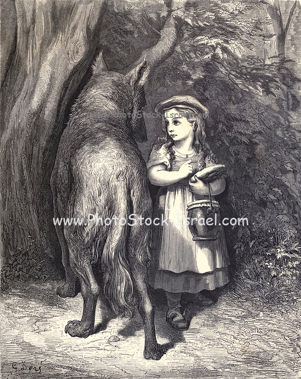 """I'm going to my Granny's to carry this jar And this cake from my mother."""" """"Indeed! Is it far?"""" Illustration from 'Little Red Riding Hood' by Paul Gustave Dore (1832-1883). From the book Fairy realm. A collection of the favourite old tales. Illustrated by the pencil of Gustave Dore by Tom Hood, (1835-1874); Gustave Doré, (1832-1883) Published in London by Ward, Lock and Tyler in 1866"""
