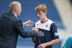Falkirk's manager Gary Holt  and Falkirk's Jay Fulton.<br /> Falkirk 3 v 0 Morton, Scottish Championship 17/8/2013.<br /> ©Michael Schofield.