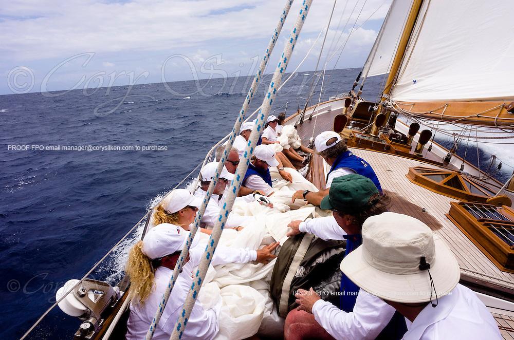 Sailing onboard Whitehawk in the Windward Race of the Antigua Classic Yacht Regatta.