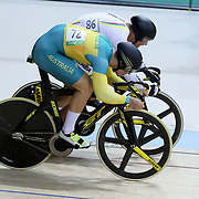 Track Cycling - Olympics: Day 6  Fabian Hernando Puerta Zapata #86 of Colombia and Matthew Glaetzer #72 of Australia, in action during the Men's Spring 1/16 Finals during the track cycling competition at the Rio Olympic Velodrome August 12, 2016 in Rio de Janeiro, Brazil. (Photo by Tim Clayton/Corbis via Getty Images)