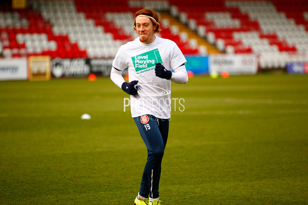 Stevenage Player Arthur Read of Stevenage warming up  during the EFL Sky Bet League 2 match between Stevenage and Harrogate Town at the Lamex Stadium, Stevenage, England on 6 March 2021.