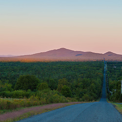 The moon over Mount Katahdin as seen from Townline Road (part of the International Appalachian Trail) in Merrill, Maine (near Smyrna Mills.)