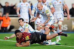 Saracens Prop (#1) Mako Vunipola scores a try during the second half of the match - Photo mandatory by-line: Rogan Thomson/JMP - Tel: Mobile: 07966 386802 16/02/2013 - SPORT - RUGBY - Allianz Park - Barnet. Saracens v Exeter Chiefs - Aviva Premiership. This is the first Premiership match at Saracens new home ground, Allianz Park, and the first time Premiership Rugby has been played on an artificial turf pitch.