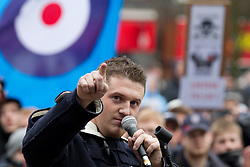 © Licensed to London News Pictures . FILE PICTURE DATED 05/02/2011 . The EDL leader , STEPHEN YAXLEY-LENNON ( aka TOMMY ROBINSON ) ( pictured at a demonstration in Luton ) has announced he intends to turn the EDL in to a political party after quitting as a Vice Chairman of the British Freedom Party . Photo credit : Joel Goodman/LNP