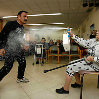 Israeli police officers give a demonstrative course on self defence to senior citizens at an elderly citizens' home in Jerusalem, as a result of rising violence against elderly people, December 25, 2007. Photo by Michal Fattal/Flash90. *** Local Caption *** ????..????? ??? ???? ?????..???? ?????..??? ????..????..?????? ??? ??????