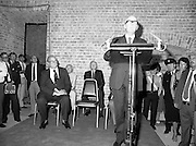 24/08/1984<br /> 08/24/1984<br /> 24 August 1984<br /> Opening of ROSC '84 at the Guinness Store House, Dublin. President Patrick Hillery  opens ROSC '84. Seated behind are Lord Iveagh and (back) Michael Scott and Mr Brian Slowey, Managing Director, Guinness, Ireland.
