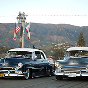 Antique cars on the pier at Santa Barbara, CA.