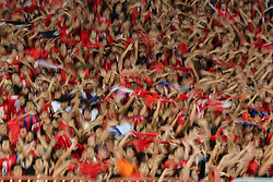 November 2, 2018 - Alexandria, Egypt - Al-Ahly supporters Reacts during their first leg of Final African Champions League CAF match Between Al Ahly and Esperance de Tunis at Borg Al Arab Stadium, on 2 November, 2018. (Credit Image: © Ahmed Awaad/NurPhoto via ZUMA Press)