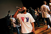 Cataclysm, 27, is singing during the final moments on stage of the 'Palestine - The Album', a music collection recorded by many different artists in the Islamic Hip Hop scene in London, England, on Saturday, Jan. 6, 2007.  Islamic Hip Hop artists like the duo 'Blind Alphabetz', from London, feel more than ever the need to say what they think aloud. In the music industry the backlash of a disputable Western foreign policy towards Islamic countries and its people is strong. The number of artists in the European Union and the US taking this into consideration and addressing the current social and political problems within their lyrics is growing rapidly and fostering awareness for Muslim and others alike.