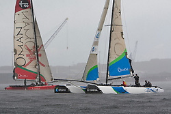 Kiel - Germany, 29th of August 2009. iShares cup. Second day of racing...The Oman Sail's extreme 40's are waiting for the first start when a rain squall hits the fleet. ..