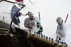Anze Ropret and Anze Kopitar at first practice of Slovenian National Ice Hockey team before EIHC tournament in Ljubljana, on November 5, 2012 in Ledena dvorana Bled, Bled, Slovenia. (Photo by Matic Klansek Velej / Sportida.com)