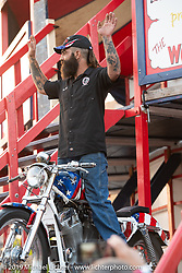 American Motordrome Wall of Death rider Hobo Bill outside the Handbuilt Show. Austin, TX. USA. Saturday April 21, 2018. Photography ©2018 Michael Lichter.