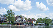 """Maidenhead. Berkshire. United Kingdom. General View of the 2017 Maidenhead Junior Regatta, centred round Maidenhead RC Boathouse with a view of part of the """"Sounding Arch Bridge.  River Thames. <br /> Sunday  14/05/2017<br /> <br /> [Mandatory Credit Peter SPURRIER/Intersport Images] Sunday. 14.05.2017"""
