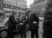 24/08/1984<br /> 08/24/1984<br /> 24 August 1984<br /> Opening of ROSC '84 at the Guinness Store House, Dublin. President Patrick Hillery  is welcomed to the exhibition opening at the Guinness Store House by Mr Pat Murphy, ROSC Chairman; Lord Iveagh and Michael Scott.