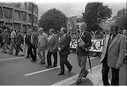 H-Block Protest To British Embassy.  (N86)..1981..18.07.1981..07.18.1981..18th July 1981..A protest march to demonstrate against the H-Blocks in Northern Ireland was held today in Dublin. After the death of several hunger strikers in the H-Blocks feelings were running very high. The protest march was to proceed to the British Embassy in Ballsbridge...Picture shows the protest march passing the American Embassy in Ballsbridge, Dublin Second from right in the picture is the author Ulick O'Connor.