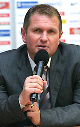 Head Coach of Slovenia Matjaz Kek at press conference after the qualification game FIFA WORLD CUP SOUTH AFRICA 2010 in Group 3 between Slovenia and Northern Ireland at Ljudski vrt Stadion, on October 11, 2008, in Maribor, Slovenia.  Slovenia won 2:0. (Photo by Vid Ponikvar / Sportal Images)