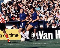 Alan Hudson (Chelsea) & Ron Harris (behind) 23/10/71, Chelsea v Southampton. Credit: Colorsport.