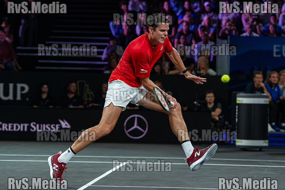 GENEVA, SWITZERLAND - SEPTEMBER 21: Milos Raonic of Team World plays a forehand during Day 2 of the Laver Cup 2019 at Palexpo on September 21, 2019 in Geneva, Switzerland. The Laver Cup will see six players from the rest of the World competing against their counterparts from Europe. Team World is captained by John McEnroe and Team Europe is captained by Bjorn Borg. The tournament runs from September 20-22. (Photo by Monika Majer/RvS.Media)