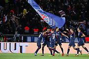 Neymar da Silva Santos Junior - Neymar Jr (PSG) scored a goal, celebration with Presnel Kimpembe (PSG), Giovani Lo Celso (PSG), Edinson Roberto Paulo Cavani Gomez (psg) (El Matador) (El Botija) (Florestan), Angel Di Maria (psg), Yuri Berchiche (PSG) during the French championship L1 football match between Paris Saint-Germain (PSG) and Dijon, on January 17, 2018 at Parc des Princes, Paris, France - Photo Stephane Allaman / ProSportsImages / DPPI