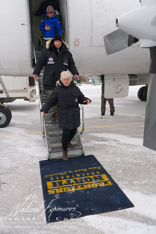 Tundra Buggy Adventure guests arrive at the Churchill airport. Churchill, Manitoba.