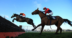 Mister Don ridden by Craig Nichol jumps the last fence ahead of Capard King ridden by Jonjo O'Neill to win the footballacca.tips 'Confined' Handicap Chase at Doncaster Racecourse.