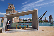 """Venice, Italy - 15th Architecture Biennale 2016, """"Reporting from the Front"""".<br /> Arsenale.<br /> Samuel Gonçalves, Portugal with his Summary Architecture."""