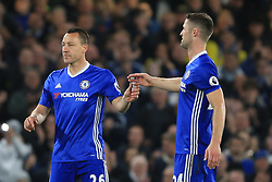 8 May 2017 - Premier League - Chelsea v Middlesbrough - John Terry of Chelsea takes the captains armband from Gary Cahill - Photo: Marc Atkins / Offside.