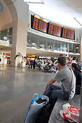 Israel, Ben Gurion International Airport, Passengers awaiting their flight in the departure lounge