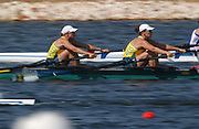 20040819 Olympic Games Athens Greece [Rowing]<br /> Schinias   -    Photo  Peter Spurrier<br /> AUS W2X Bow Donna Martin and Jane Robinson at the start of the  B Final <br /> Images@intersport-images.com<br /> Tel +44 7973 819551<br /> [Mandatory Credit Peter Spurrier/ Intersport Images]