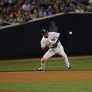 Derek Jeter, New York Yankees, commits an error while fielding at shortstop in the fourth inning off a Devin Mesoraco hit during the New York Yankees Vs Cincinnati Reds baseball game at Yankee Stadium, The Bronx, New York. 18th July 2014. Photo Tim Clayton