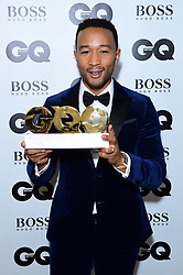 John Legend in the press room with the Hugo Boss Most Stylish Man Award at the GQ Men of the Year Awards 2018 in Association with Hugo Boss held at The Tate Modern in London.