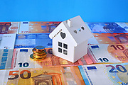 Small white house on a background of Euros banknotes.