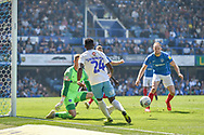 Coventry City Forward, Bright Enobakhare (24) cuts back a cross during the EFL Sky Bet League 1 match between Portsmouth and Coventry City at Fratton Park, Portsmouth, England on 22 April 2019.