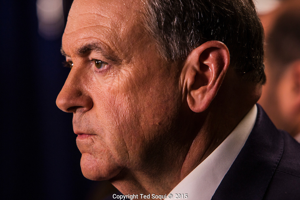 Republican presidentail candidate Mike Huckabee.<br /> Spin room activity after the republican presidential debates at the Ronald Reagan Presidential Library.