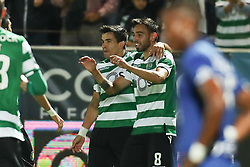 September 8, 2017 - Santa Maria Da Feira, Aveiro, Portugal - Sporting's Portuguese fmidfielder Bruno Fernandes (R) celebrates after scoring a goal during the Premier League 2017/18 match between CD Feirense and Sporting CP, at Marcolino de Castro Stadium in Santa Maria da Feira on September 8, 2017. (Credit Image: © Dpi/NurPhoto via ZUMA Press)