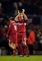 Photo: Jed Wee.<br />Liverpool v Birmingham City. Barclays Premiership. 01/02/2006.<br />Liverpool's Robbie Fowler applauds the fans at the end of the match.