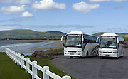 Two Kerry coaches at Waterville Strand near Waterville Golf Links in 2010..Picture by Don MacMonagle