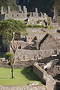 View of ancient buildings in Machu Picchu, Cusco Region, Urubamba Province, Machupicchu District in Peru, South America