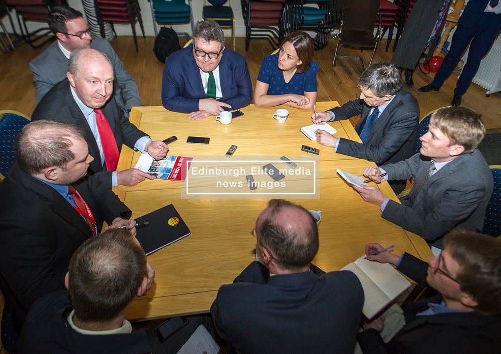 Pictured: Kezia Dugdale and Tom Watson meet the press<br /> Scottish Labour leader Kezia Dugdale, MSP,  and Tom Watson, MP deputy leader of the Labour Party, visited Edinburgh's Serenity cafe today to meet and encourage Labour candidates ffor the upcoming local elections;<br /> Ger Harley   EEm 27 March 2017