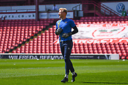 Jonathan Mitchell of Shrewsbury Town (1) warming up during the EFL Sky Bet League 1 match between Barnsley and Shrewsbury Town at Oakwell, Barnsley, England on 19 April 2019.