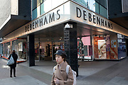Sign for the department store brand Debenhams on Oxford Street on 21st January 2020 in London, England, United Kingdom. The company announced the closure of 19 stores across the UK after going into administration in 2019.