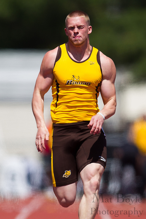 Rowan University freshman Tyler Coulbourn competes in the 100 meter dash at the NJAC Track and Field Championships at Richard Wacker Stadium on the campus of  Rowan University  in Glassboro, NJ on Sunday May 5, 2013. (photo / Mat Boyle)