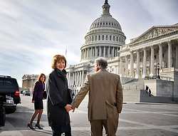 January 3, 2018 - Washington, District of Columbia, U.S. - Holding hands with her husband ARCHIE, Senator TINA SMITH walked toward the U.S. Capitol building in the morning sun for her swearing in ceremony. Tina Smith is sworn in as Minnesota's junior U.S. senator, replacing Al Franken the day after he resigns. (Credit Image: © Glen Stubbe/Minneapolis Star Tribune via ZUMA Wire)
