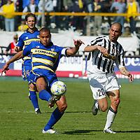 Parma 18/4/2004 Campionato Italiano Serie A <br />30a Giornata - Matchday 30 <br />Parma Juventus 2-2 <br />Matteo Ferrari (Parma) and Marco Di Vaio (Juventus)<br /> Foto Graffiti