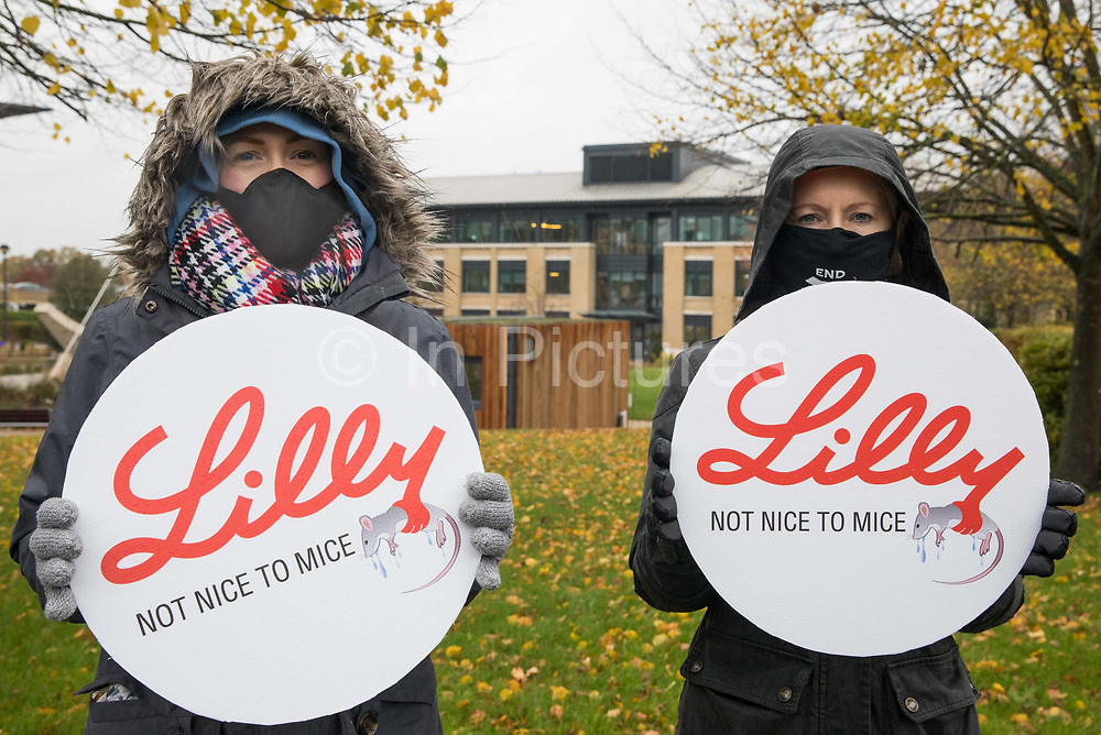 PETA supporters protest outside Eli Lilly's R&D centre to call on the US pharmaceutical company to ban the forced swim test on 29 October 2020 in Bracknell, United Kingdom. Animal rights charity PETA UK contends that the forced swim test during which small animals are dosed with an anti-depressant drug, placed in inescapable beakers filled with water and forced to swim to keep from drowning has been widely discredited and that other pharmaceutical companies including Johnson & Johnson, GlaxoSmithKline, Pfizer, Bayer, Roche and AstraZeneca have banned it.