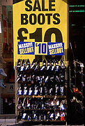 A728JD Shoe shop sale display with pairs at £10 each British high street shopping