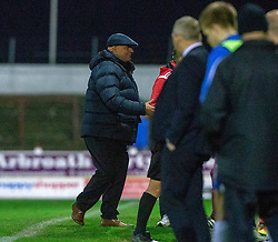 Arbroath's manager Dick Campbell at the end. Arbroath 2 v 0 Montrose, Scottish Football League Division One played 10/11/2018 at Arbroath's home ground, Gayfield Park.
