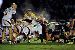 Steam rises from a scrum - Photo mandatory by-line: Patrick Khachfe/JMP - Mobile: 07966 386802 17/01/2015 - SPORT - RUGBY UNION - London - The Twickenham Stoop - Harlequins v Wasps - European Rugby Champions Cup