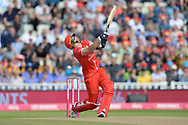 Liam Livingston of Lancashire Lightning is beaten by a delivery from Pat Brown during the Vitality T20 Finals Day Semi Final 2018 match between Worcestershire Rapids and Lancashire Lightning at Edgbaston, Birmingham, United Kingdom on 15 September 2018.