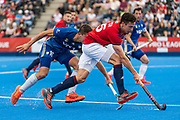 x of Great Britain Men and y of Argentina Men during the 2019 Men's FIH Pro League match at Lee Valley Hockey Centre, Stratford<br /> Picture by Simon Parker/Focus Images Ltd <br /> 18/05/2019